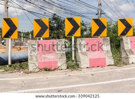Curve road Danger signs - stock photo
