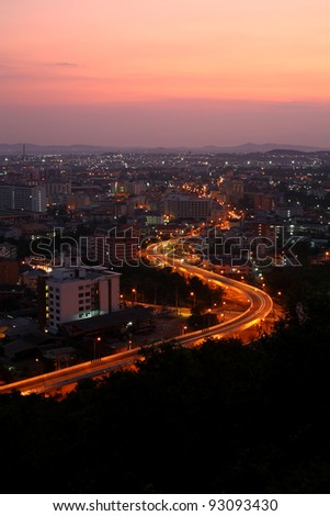 Curve road in Pattaya city in the early morning hours, famous place in thailand - stock photo