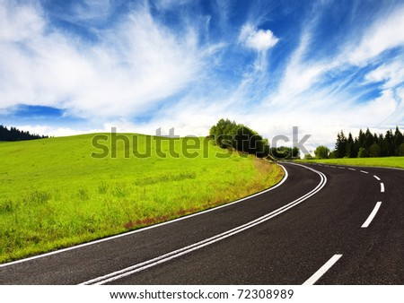 curve road on mountain - stock photo