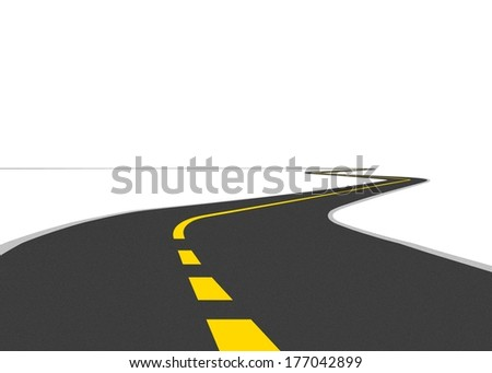 Curve Road with Divider - stock photo