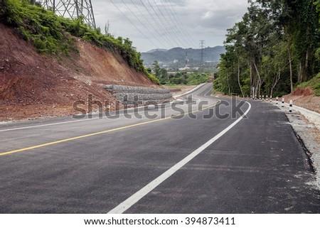 Curve Roads Sky background - stock photo
