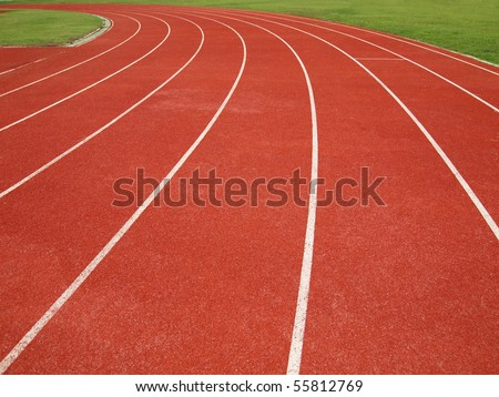 Curve running track - stock photo
