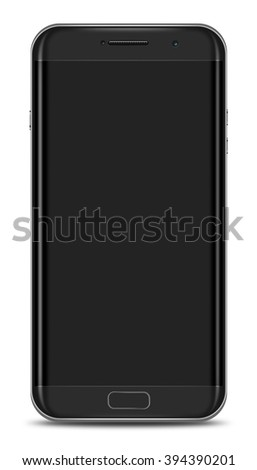 Curve Screen Smartphone Isolated on White Background - stock photo