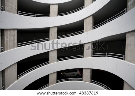 curve slip road into the car park - stock photo