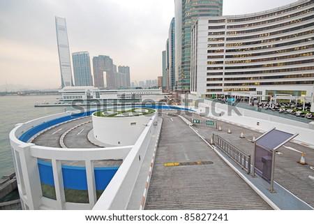 curve slip road into the car park - stock photo