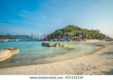 Curve White Sand Beach Turquoise Blue Sea Koh Tao and Nang Yuan Thailand - stock photo