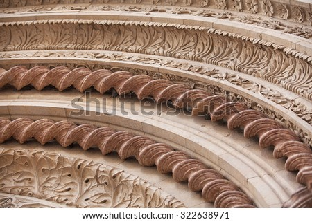 Curved architectural detail in the old township of Perugia in the Umbrian region of Italy - stock photo
