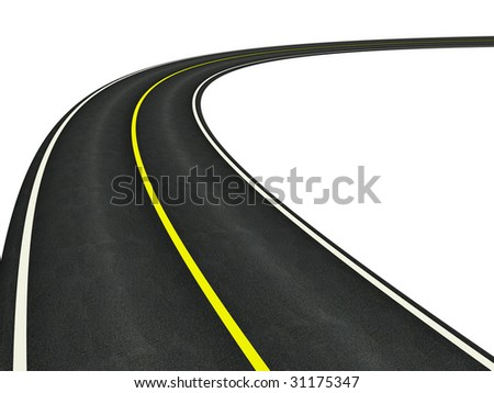 Curved asphalt road - stock photo