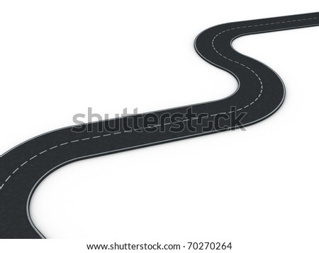 curved asphalt road- 3d render
