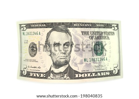 curved bill of five dollars on a white background