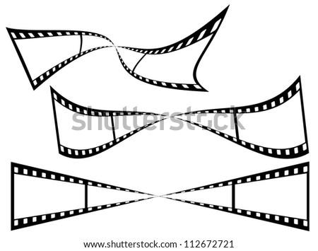 Curved black strip film sheet on white background - stock photo