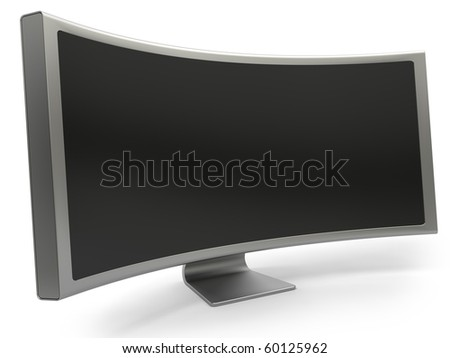 Curved blank LCD computer monitor isolated on white