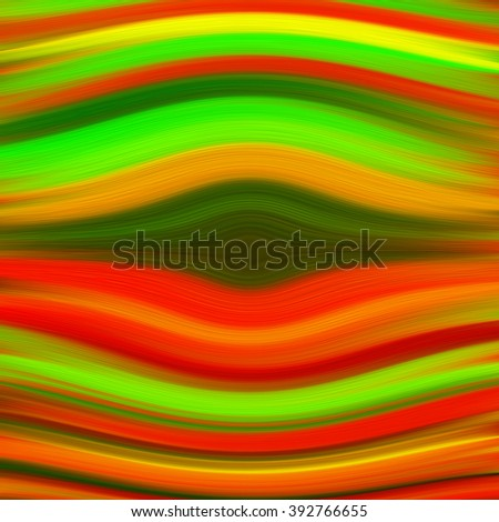 curved blended stripes of thick paint in vibrant shades of green, red, orange and yellow