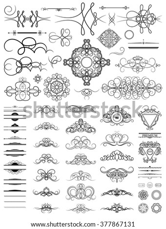 Curved decorative contours in raster. Curve vintage collection for Decoration text, logo, wedding album or restaurant menu. Set decor elements. Ornate swirl leaves and label. - stock photo