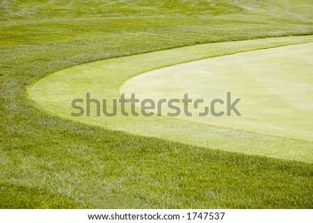 Curved edge of golf green