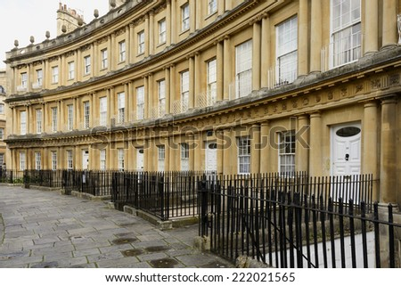 curved facades at the Circus crescent, Bath foreshortening of curved Georgian classic residential buildings in city center  - stock photo
