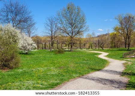 Curved footpath and lawns with green grass in the park in spring. - stock photo