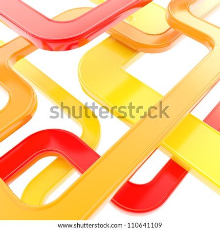 Curved glossy tube lines on white background as abstract technological backdrop - stock photo