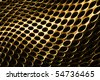 Curved gold metal background with perforated holes. - stock photo