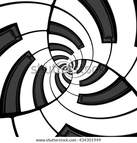 Curved keyboard in three way spiral Droste effect - stock photo