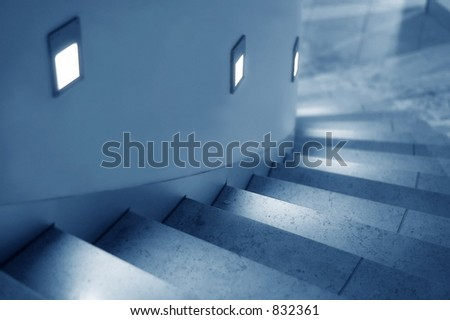 curved lighted stairway