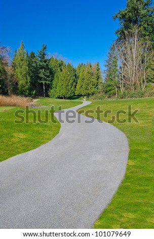 Curved path at a golf course