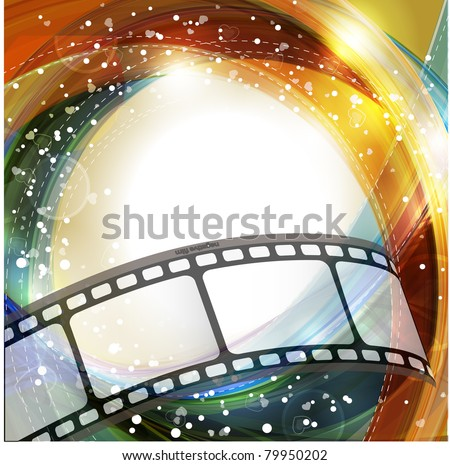 Curved photographic film. Rasterized version - stock photo
