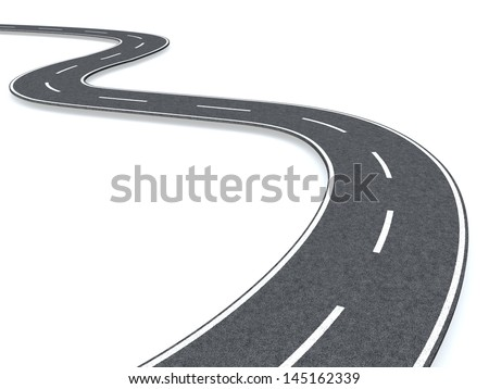 Curved road - stock photo