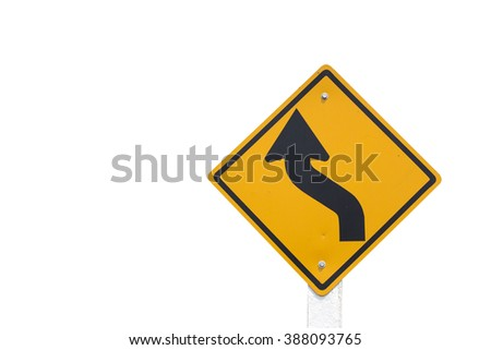 Curved Road Traffic Sign isolated on white background - stock photo