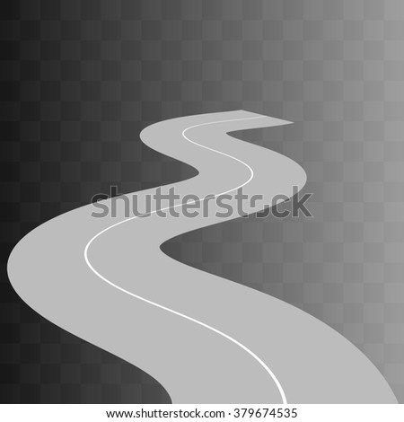 Curved road with white markings on transparent. illustration 9