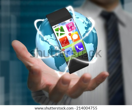 curved screen smartwatch on glowing orbit globe in businessman palm with apps and tech-digital background