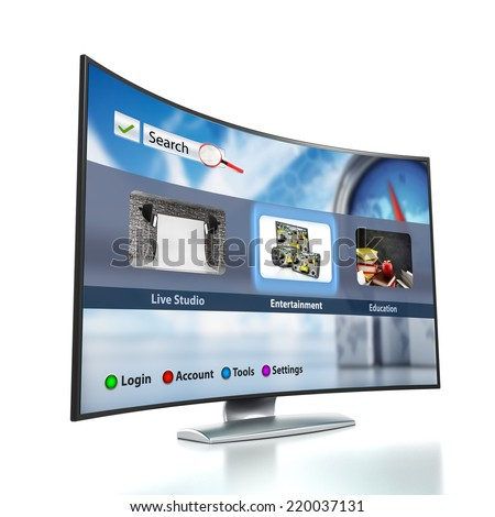Curved Smart TV with OLED screen.  Interface is my own design and consists from the images within my own portfolio. - stock photo
