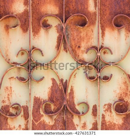 curved steel, door steel with rust - stock photo