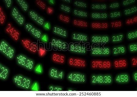 Curved Stock Market Ticker - stock photo