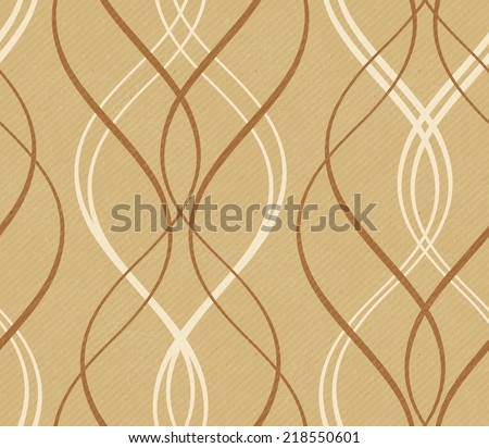 Curved stripes forming a decorative line pattern on a distressed paper or cardboard  like background with faint diagonal stripes in shades of earthy brown and beige.  The wave pattern tile seamlessly. - stock photo