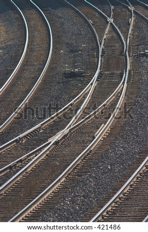 Curved track switches. - stock photo