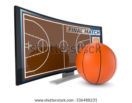 curved tv with a basketball on white background (3d render) - stock photo