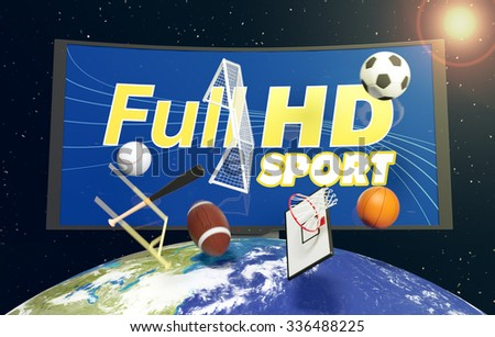 curved tv with full hd on screen, on top of a world globe, with symbols of various sports falling from the sky, concept of worldwide broadcast (3d render)- Elements of this image furnished by NASA - stock photo