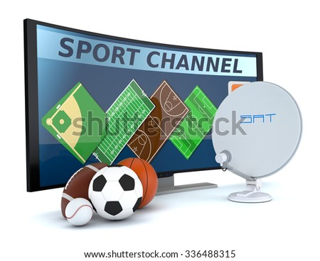 curved tv with symbols of various sports and a sat dish (3d render) - stock photo
