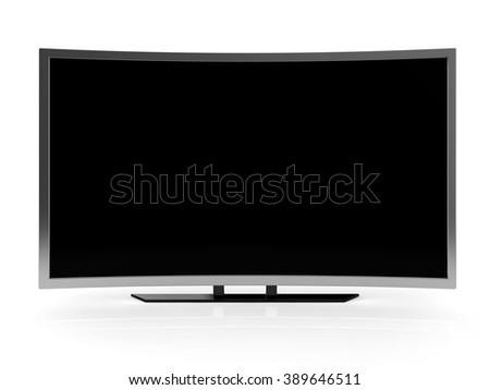 curved ultra hd tv blank screen isolated white background with clipping path