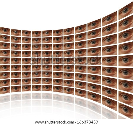 Curved wall of video screens with eyes White background - stock photo