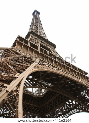 Curves of the famous Eiffel Tower of Paris isolated on white