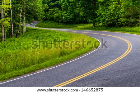 Curves on Skyline Drive in Shenandoah National Park, Virginia. - stock photo
