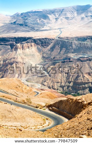 Curvy highway with mountain landscape in Jordan. - stock photo