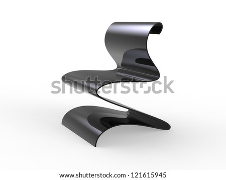 Curvy Metal chair isolated on a white background - stock photo