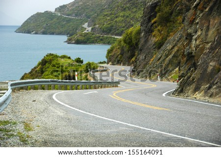 curvy road - stock photo