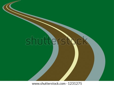 curvy road and green background with plenty of room for text - stock photo