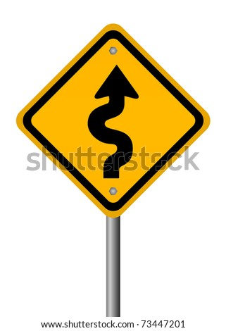 Curvy road sign isolated on white - stock photo