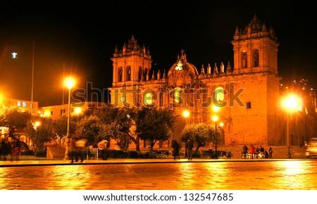 Cusco main square, Peru  Plaza de Armas de Cusco, Peru. - stock photo