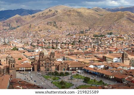 CUSCO, PERU - AUGUST 29, 2014: The historic Plaza de Armas in the historic former Inca capital of Cusco in Peru. - stock photo
